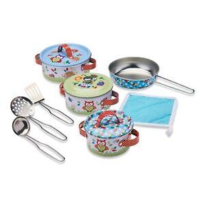 Wobbly Jelly - 'Woodland Animals' Kids Kitchen Set - 11 pc Toy Pots and Pans Set