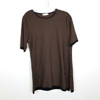MISOOK Women's  Black and Brown Striped Top.  Size Medium