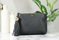 Tory Burch (50671) Black Pebbled Leather Tassel Crossbody Hand Bag Purse