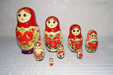Original Matroschka Babuschka rotes Tuch 9 teilig 18 cm USSR