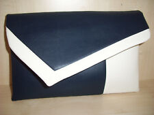 OVER SIZED CREAM & NAVY BLUE faux leather clutch bag. Made in the UK