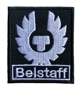 BELSTAFF Logo Patch Embroidered Iron on Badge (Black + Silver) Aufnäher 60mm NEW