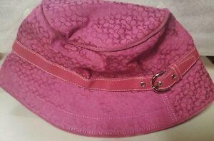 NWT COACH Floppy Sunhat pink leather trim P/S