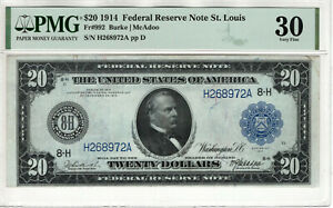 1914 $20 FEDERAL RESERVE NOTE ST. LOUIS FR.992 BURKE McADOO PMG VERY FINE VF 30