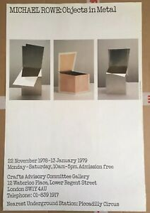Michael Rowe Original Exhibition Poster Objects in Metal 1978 Sculpture Crafts