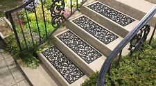 Set of 4 Butterfly Scroll Pattern Black Rubber Outdoor Stair Treads Step Mats