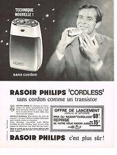 PUBLICITE ADVERTISING  1964   PHILIPS  rasoir CORDLESS