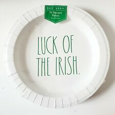 Rae Dunn Dessert Paper Plates St Patrick's Day Luck of the Irish 8 Inch NEW