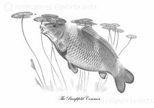 THE BURGHFIELD COMMON   Classic Famous Carp Pencil Drawing Art Print
