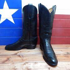 Men's Tony Lama Black Leather Western Cowboy Boots size 11D Black Label