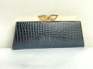 OPTICAL SPECTAPURSE EYE GLASS CASE *VINTAGE* NAVY LEATHER