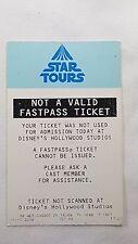 Disney FASTPASS Walt Disney World Fast Pass Ticket STAR TOURS notvalid