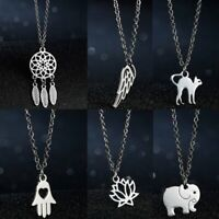 Fashion Silver Cute Elephant Necklace Pendant Stainless Steel Women Jewelry Gift