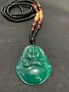 Natural Jade Jewelry Lucky Buddha Pendant With Woven Beads Necklace