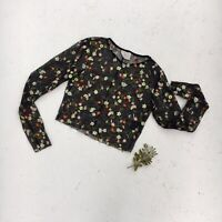 Pins & Needles Urban Outfitters Black Mesh Floral Embroider Crop Top XS Festival