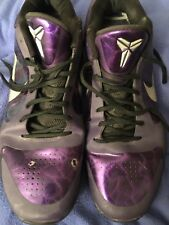 RARE Nike Zoom Kobe V 5 Purple Ink Metallic Silver Black Sz 15 386429-500