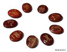 KARUNA REIKI STONES - Red Jasper - Oval Shape - Set of 9 Stones w/ Reiki Symbols