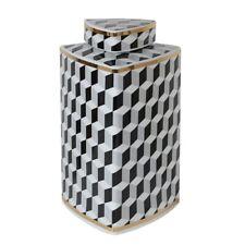 Shabby Chic Luxury Monochrome Square Geometric Ginger Jar Home Decor Gift