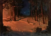 Oil painting Theodor Severin Kittelsen - new moon Moonlight crossing the forest