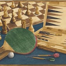 Board Games - Backgammon Chess Poker Darts - ONLY $6 - Wallpaper Border B068