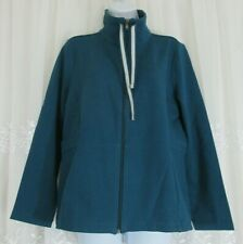Women Talbots Teal Blue L Jacket Full Zip Yoga Activewear Cotton Stretch Pockets