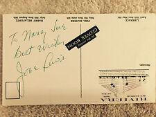 Joe E. Lewis Vintage signed autographed Card to Nancy Sue Comedian 1956 Rivera