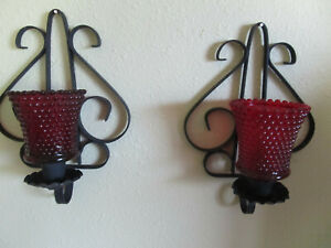2 Vtg wrought iron wall sconce candle holder w/2 red peg votive cups