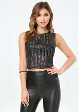 BEBE BLACK MANDY MIX LACE LEATHERETTE CROP TOP NEW NWT XSMALL XS