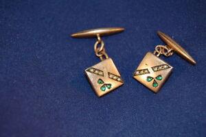 ca. 1880 Manschettenknöpfe Biedermeier Messing vergoldet mit kl. Perlen