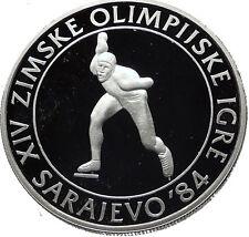 1984 Communist Yugoslavia Winter Olympic Games Speed Skater Silver Coin i60786