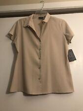 Laura Scott Beige/Tan Cap Sleeve Button Down Lightweight Blouse/Top Size 10 NWT