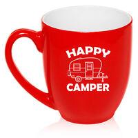 16 oz Bistro Mug Ceramic Coffee Glass Tea Cup Happy Camper