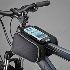 Bicycle Cycling Bike Front Pannier Saddle Tube Bag Double Pouch phone Holder