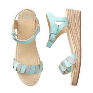 NWT Gymboree Mint Silver Espadrilles Wedge sandals Shoes True Blue Summer Girls