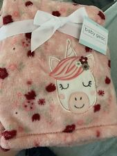 Baby Gear Pink Unicorn Flowers and Rainbows Baby Blanket Girls Soft 30x40 New