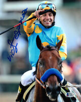 VICTOR ESPINOZA SIGNED 8x10 PHOTO TRIPLE CROWN WITH AMERICAN PHAROAH BECKETT BAS