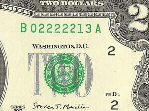 UNC 2017A $2 TWO DOLLAR BILL 2222213 FEDERAL RESERVE NOTE PAPER MONEY