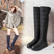 Women Side Zipper Snow Boots Over the Knee Plush Buckle Rubber Round Toe Wedges