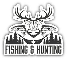 "Fishing & Hunting Emblem Car Bumper Sticker Decal 5"" x 4"""
