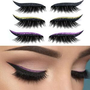 Lady Reusable Lazy Eye Makeup Stickers Glitter False Eyelashes Eyeliner Stickers
