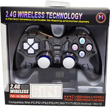 New Wireless Vibration Gaming Controller Black TV PS2 PS3 PC Race Action 2.4 GHz