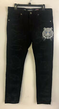 Damati Distressed Black Jeans Tiger Embroidery Size 32 100% Authentic (D13)