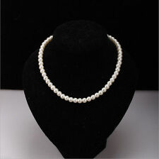 1Pcs Women's Alloy Pearl Beads Chunky Bib Necklace White Chain 8mm Jewerly DIY