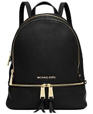 NWT Michael Kors Rhea Pebble Leather Medium Backpack Zip Bag $298 Black Gold