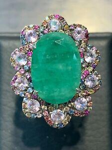 NATURAL EMERALD 16X11 MULTI SAPPHIRE DIAMOND CUT STERLING SILVER 925 RING
