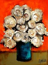 Contemporary MODERN White Flowers - ABSTRACT FINE ART by SLAZO