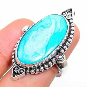 Sleeping Turquoise Gemstone 925 Sterling Silver Jewelry Ring Size 7.5 N893