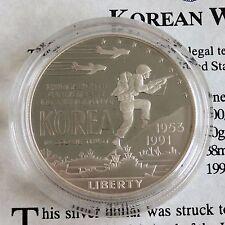 USA 1991 P KOREAN WAR SILVER PROOF DOLLAR - coa