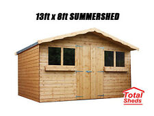 13FT X 8FT GARDEN SHED/SUMMER HOUSE WITH +1FT OVERHANG HIGH QUALITY TIMBER