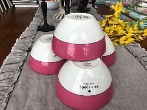 KATE SPADE LENOX 4 NWT RUTHERFORD CIRCLE PINK SOUP CEREAL BOWLS  ELEGANT